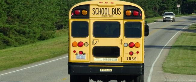 School bus - two lane road - Xzelenz Media