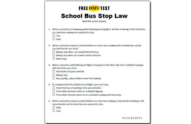 test sheet school bus stop law