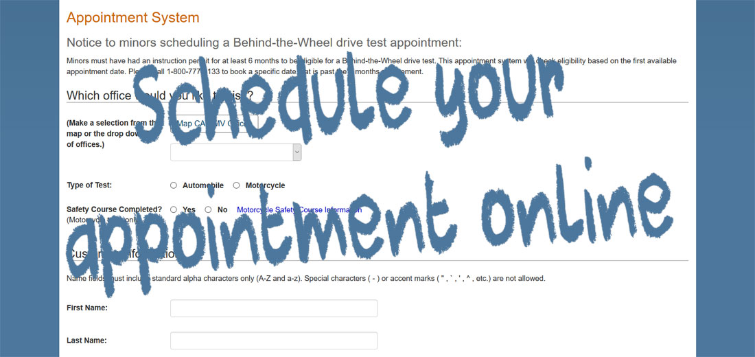 Schedule a Behind-the-Wheel drive test appointment with California on