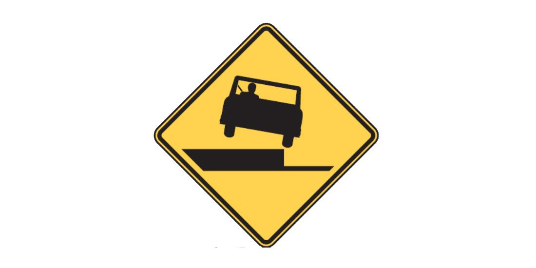 The Shoulder Drop Off (W8-17) sign