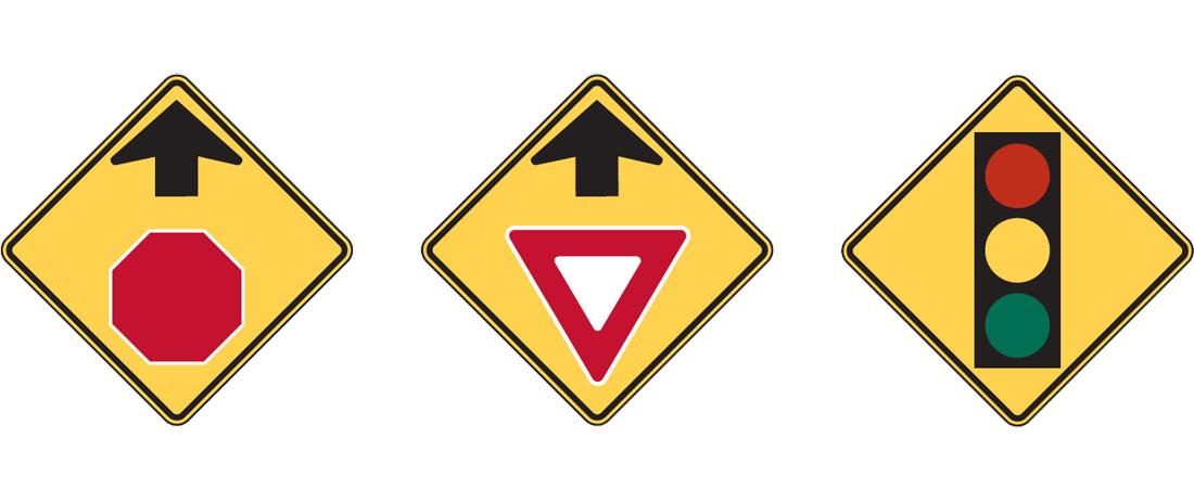 Warning signs W3-1, W3-2, W3-3